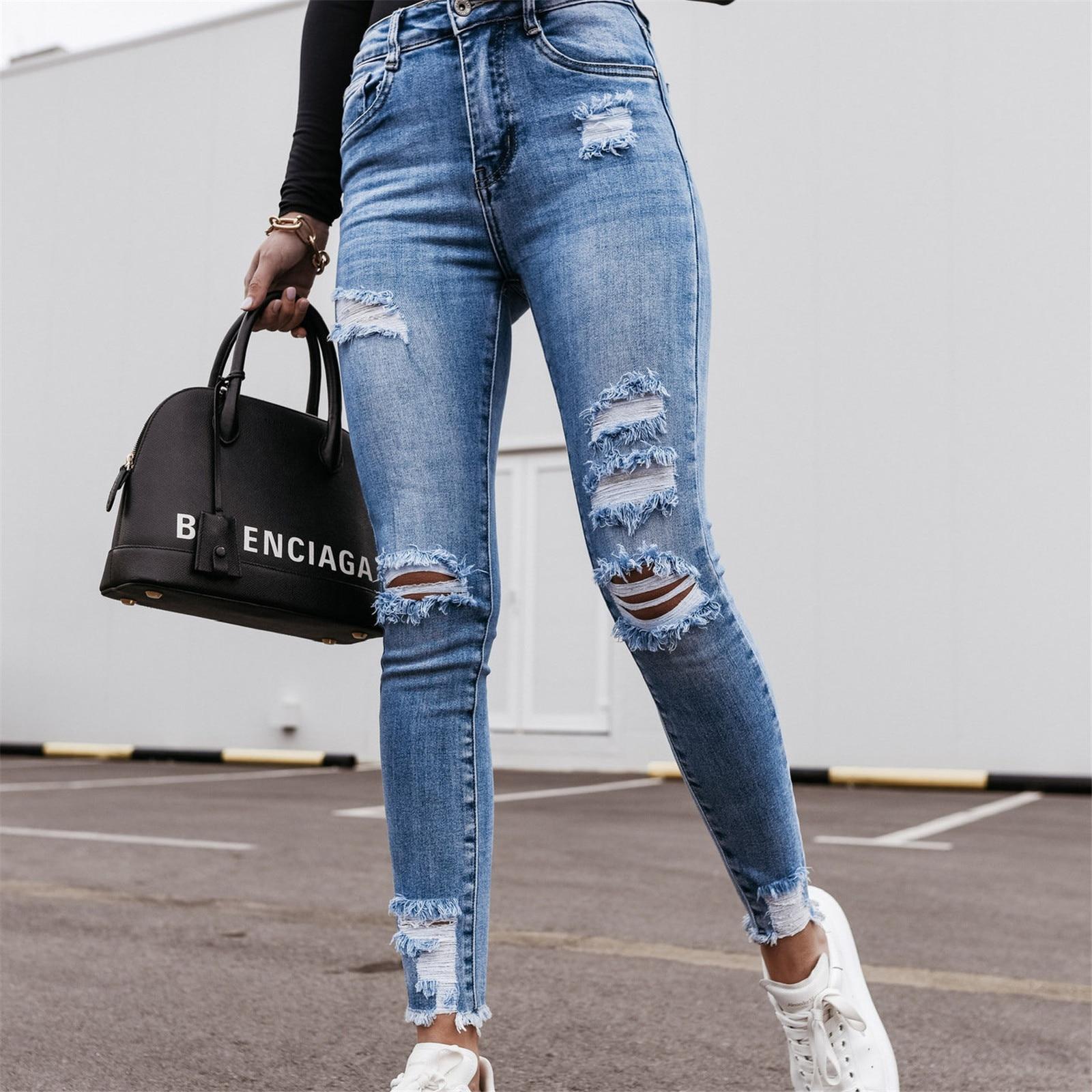 Fashion Vintage Ripped Gat Potlead Long Broek Solid jeans Women Lent Summer Casual High Tail Slank Denim Broek