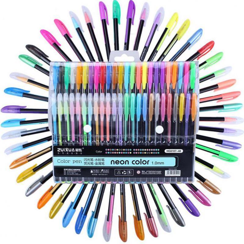 48 Stuks Kleuren Glitter Schets Tekening Kleur Pen Markers Gel Pennen Set Refill Rollerball Pastel Neon Marker Kantoor School
