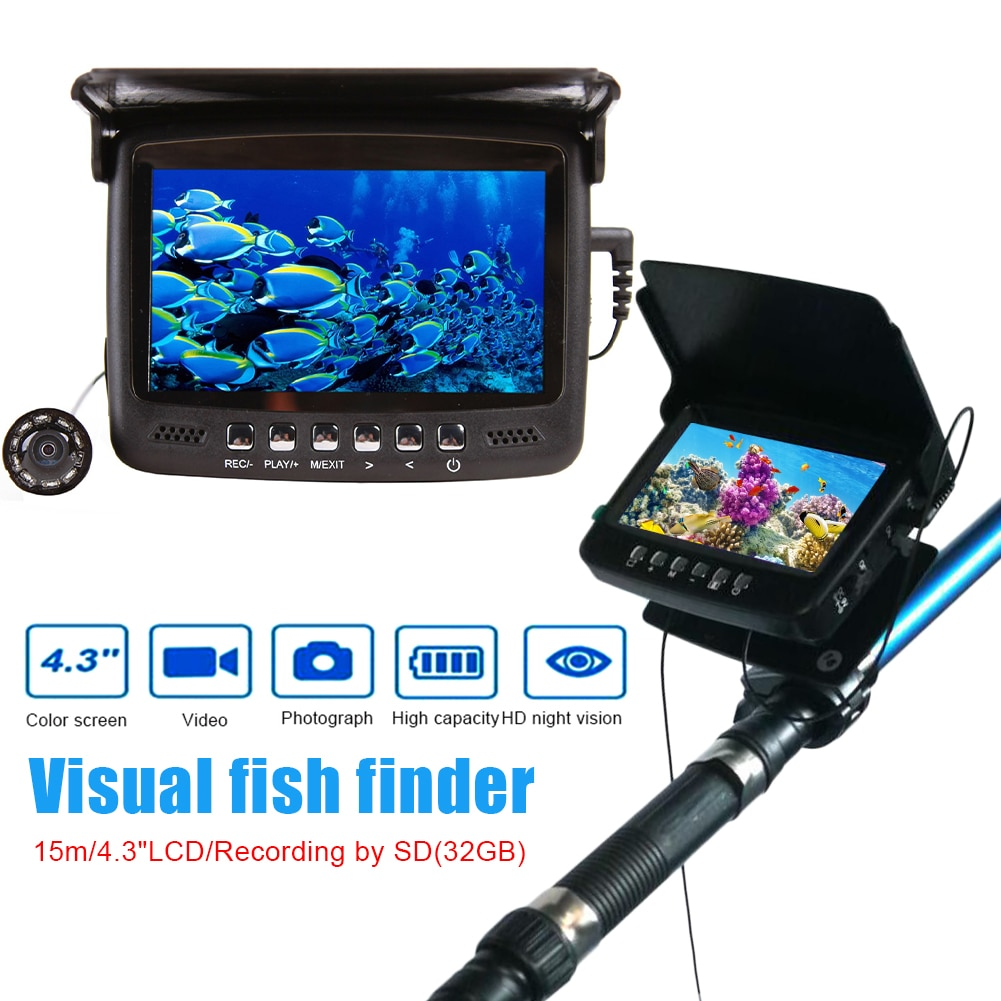 4.3 Inch Underwater Fishing Camera DVR Underwater Fish Finder Infrared Night Vision Portable Fishing Video Camera LCD Monitor