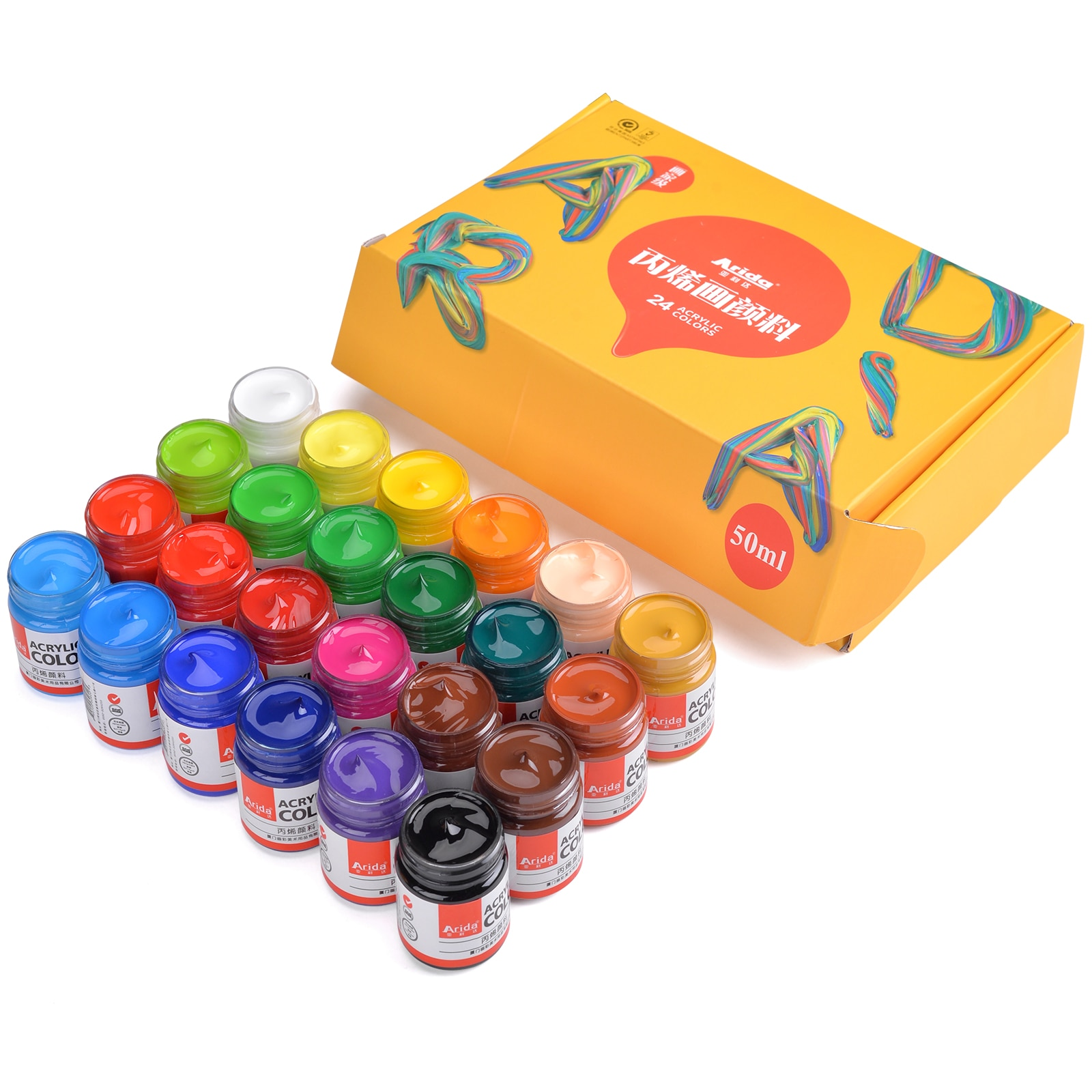 Professional Acrylic Paint Set 50ml 12/16/20/24 Colors Acryl Drawing Painting Pigment Hand-Painted Wall for Artist DIY