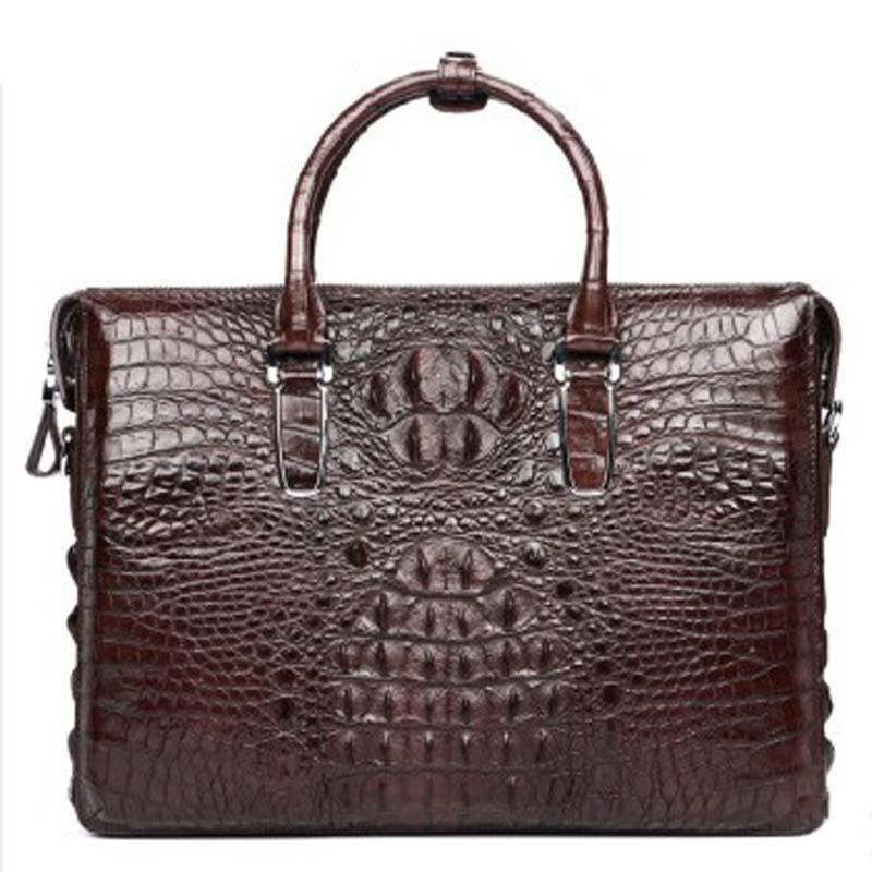 luodungongniu  new Crocodile leather briefcase Large capacity men bag Business single shoulder  bag Thai crocodile leather bag