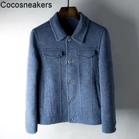new winter fashion albaca hand stitched double sided wool cashmere mens double sided tweed coat short jacket coat