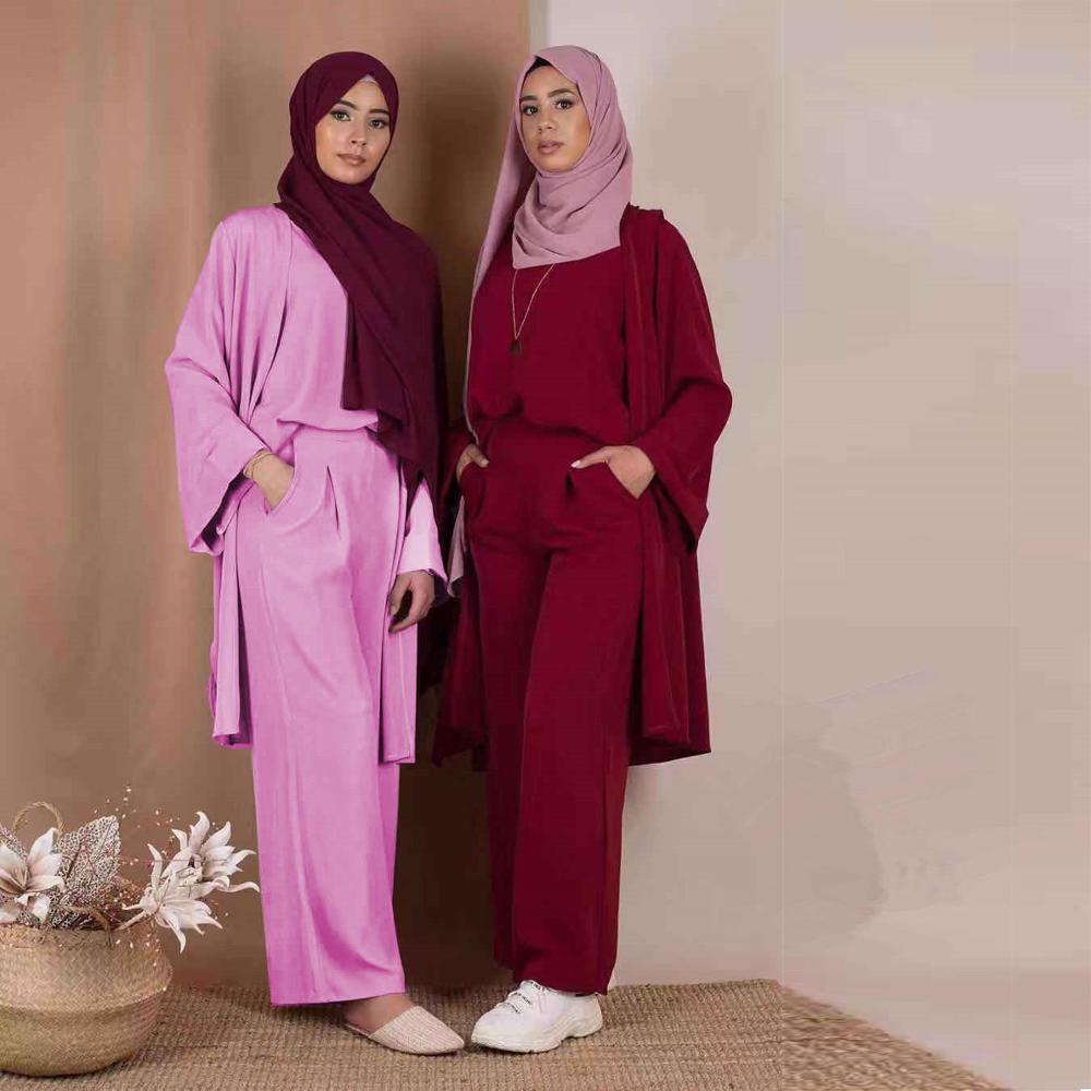 طقم نسائي من 3 قطع ، بنطلون واسع الساق ، أكمام طويلة ، ملابس خارجية مفتوحة ، توب قصير الأكمام ، أزياء مسلمة ، أزياء دبي وتركيا
