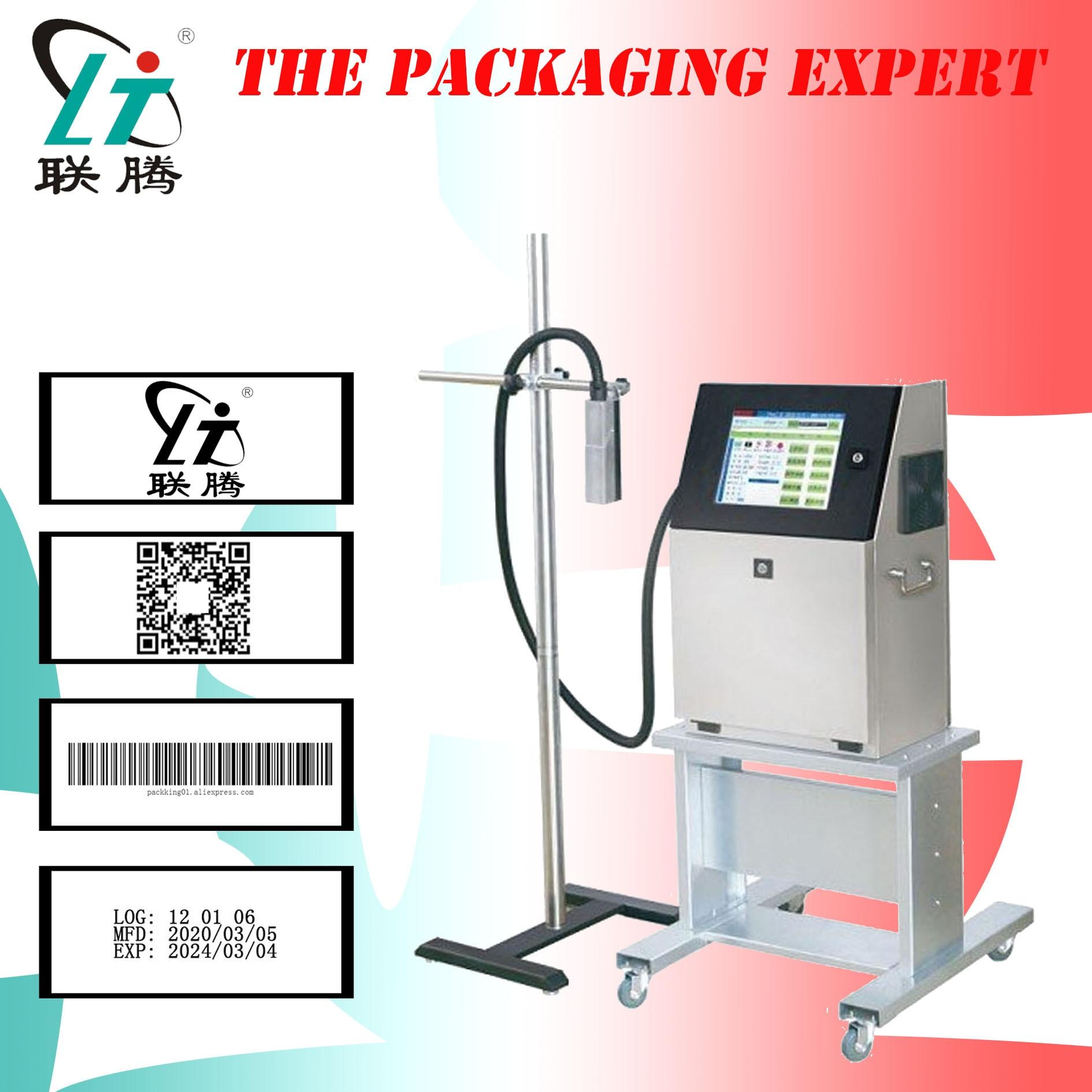 Impresora de inyección de tinta de impresora de inyección de tinta continua máquina de impresión por chorro código de barras Coder de código de barras diseño de logotipo solvente automático envío gratis