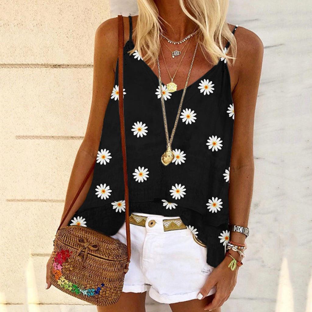 2020 Summer Daisy Print Blouses Shirt Women Spring Backless Sleeveless Boho Blouse Plus Size Sexy V Neck Beach Straps Tops Blusa
