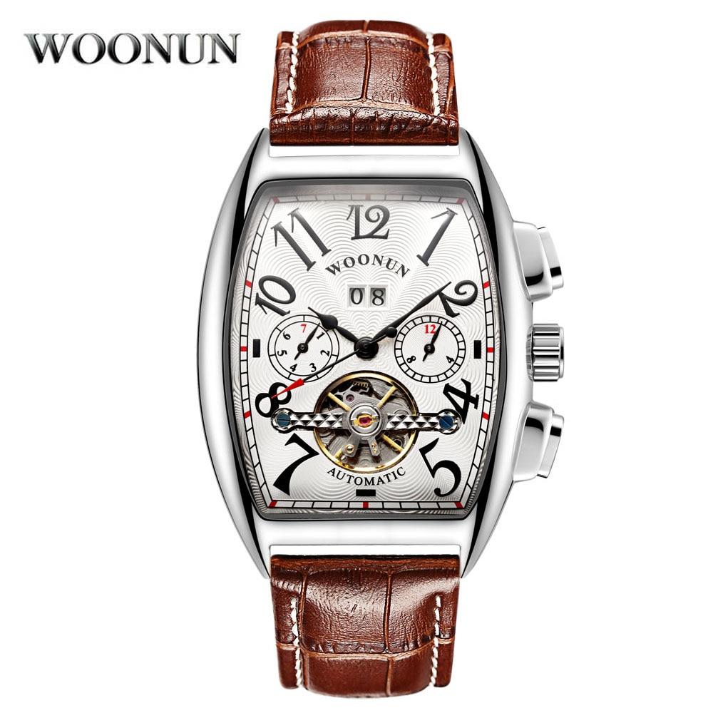 New 2020 Men Watches Fashion Tonneau Watches Leather Band Automatic Mechanical Wristwatches Men Tour