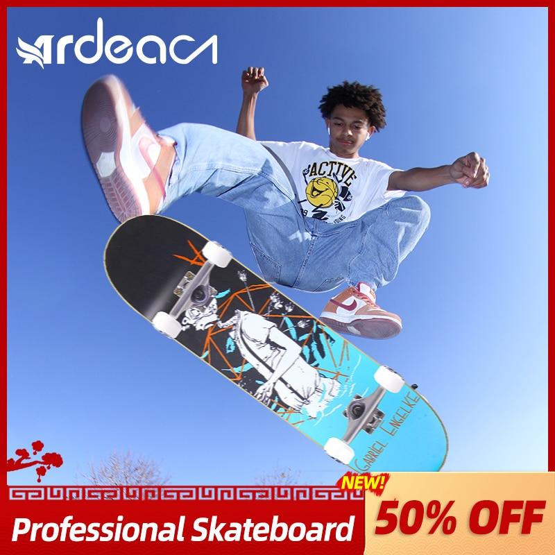 ARDEA Skateboard 80cm Professional Kids Boys Double Rocker Skate Board DIY Russia Maple Wood Deck