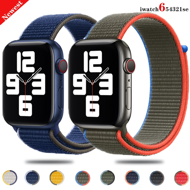 Strap For Apple Watch band 44mm 40mm 42mm 38mm Smartwatch Watchband Belt Sport Nylon Loop belt Brace