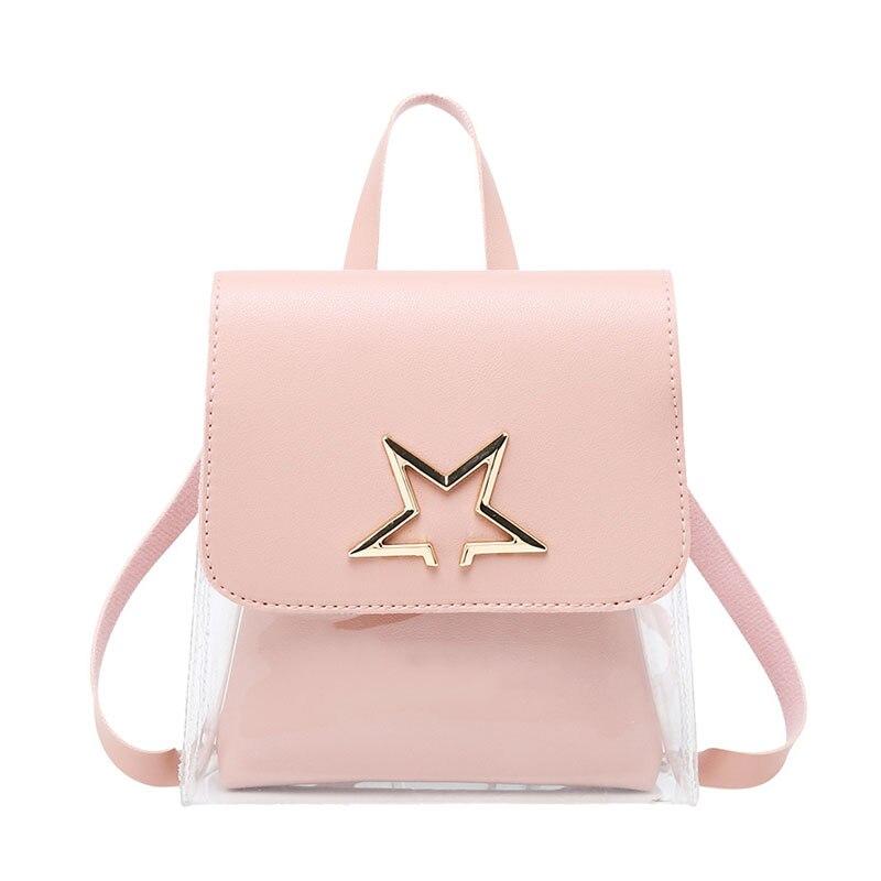Mochila transparente para mujer 2019, bolsas bonitas para la escuela, Mini mochila escolar Rosa Negra para niñas, mochila de moda para mujer, bolso de playa para teléfono