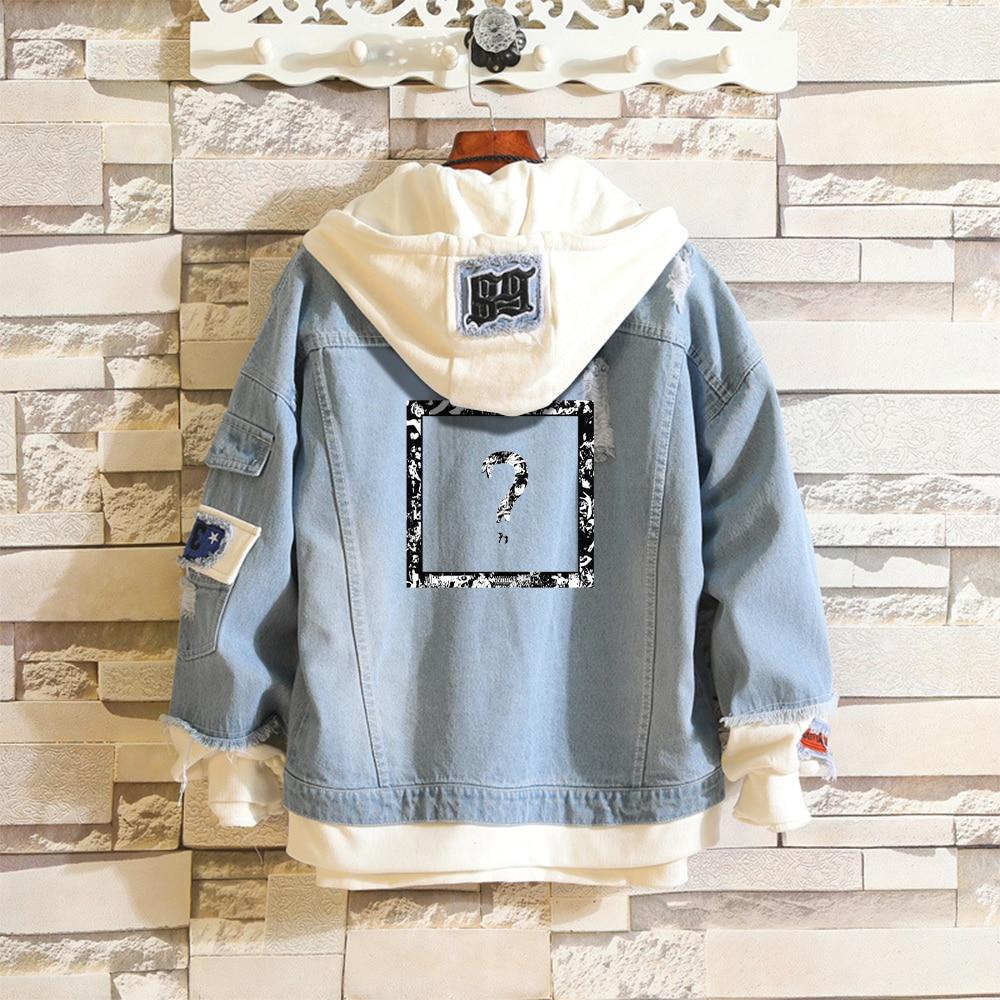 XXXtentacion-جاكيت جينز للرجال ، أزرق سماوي ، قطعتين مزيفة ، معطف هيب هوب ، Harajuku ، XXXtentacion ، ملابس الشارع العصرية