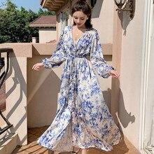 2020 Spring Runway Women Long Dress Luxury Vintage Blue ink painting Print Loose Dress Fashion Designer Party Maxi Dresses