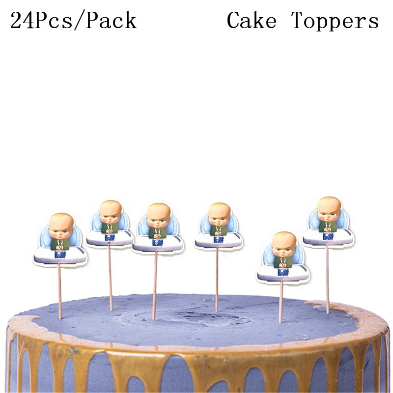 24PCS New Cartoon Boss Happy Birthday Cake Topper Cute Baby Boy Cupcake Toppers Baby Shower Boys Kids Cake Decorations