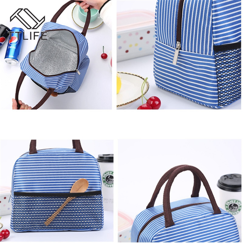 TTLIFE Thick Aluminum Foil Large Stripe Bag Oxford Cloth Waterproof Lunch Bag Insulation Lunch Bag Lunch Bag Portable Lunch Bag