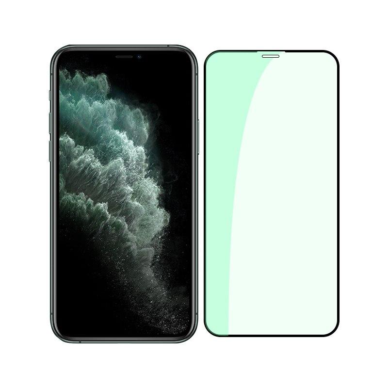 Protecteur d'écran pour iPhone, 3 pièces, en verre trempé Anti-rayon vert, pour modèles 11, 12 Pro Max, X, XS, XR, XS Max