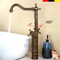 antique household splash proof copper hot and cold bathroom cabinet with raised foot counter basin faucet black ancient bathroom