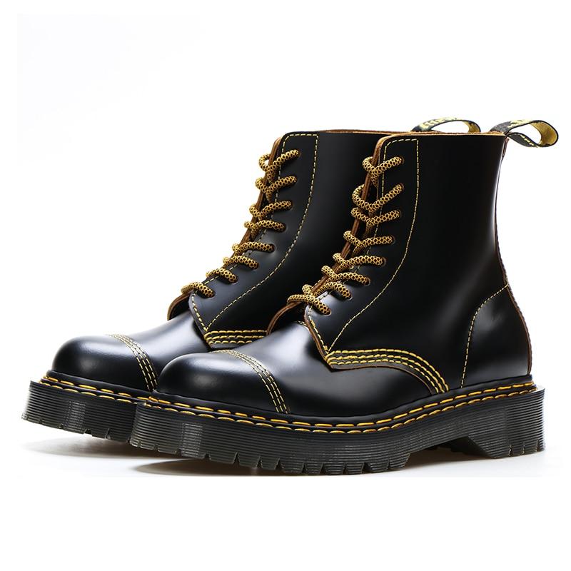 Goodyear-Welted جلد طبيعي مارتنز أحذية للدراجات النارية منصة أحذية النساء 2020 جولة تو الدانتيل متابعة أحذية السيدات الأحذية