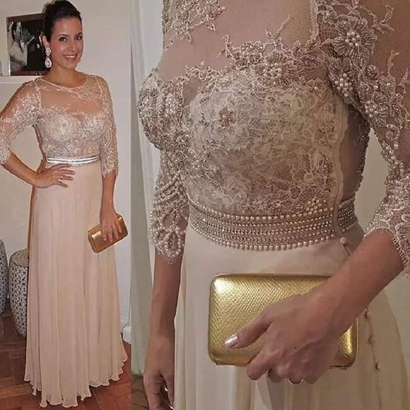 3/4 Sleeve O Neckline Pearls Lace Champagne Color Chiffon Bridesmaid Dresses See Through Prom Party Dresses