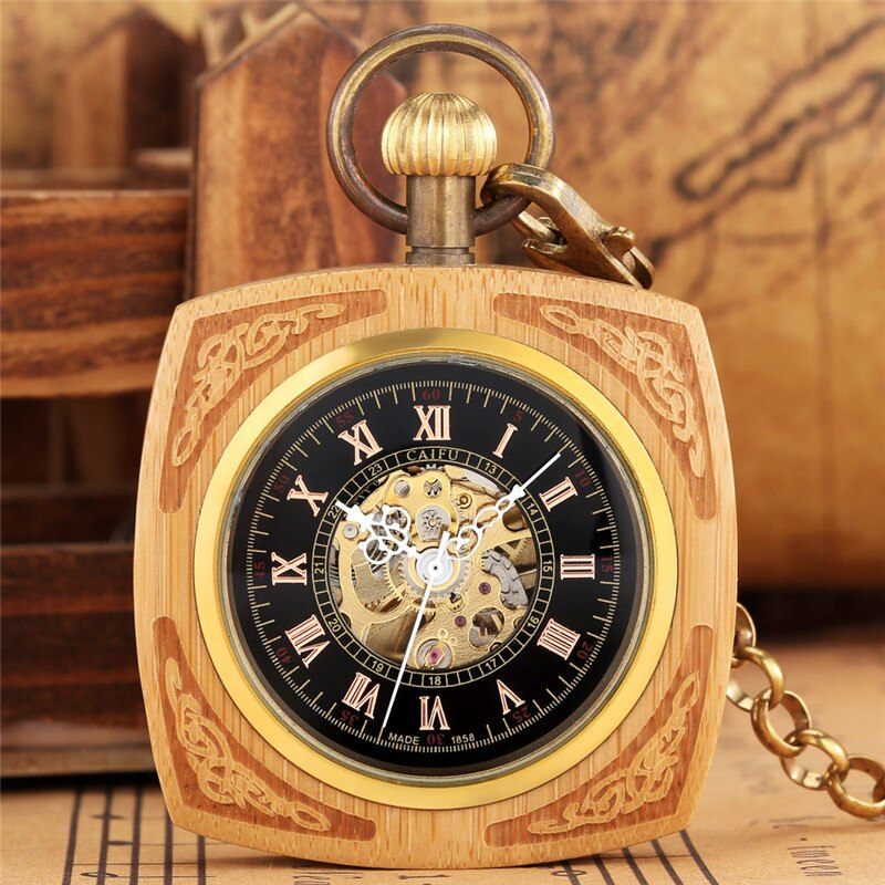 Antique Wooden Pocket Watch Bamboo Skeleton Auto Mechanical Watches Men Women Skeleton Clock Pendant Chain Collectable Reloj