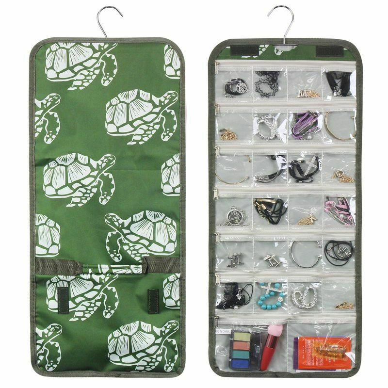Fashionable Practical Jewelry Hanging Travel Organizer Roll Bag, Green Turtle