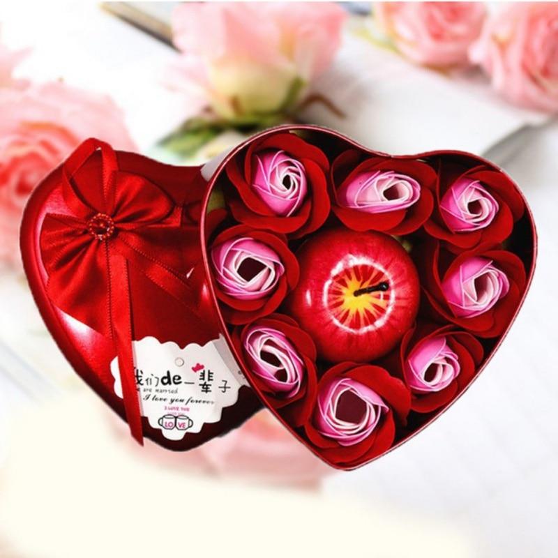 Caja de regalo de pétalo de vela rosa de cuerpo 2020, regalo de cumpleaños, vela novedosa en forma de corazón, simulación de jabón flores rosas