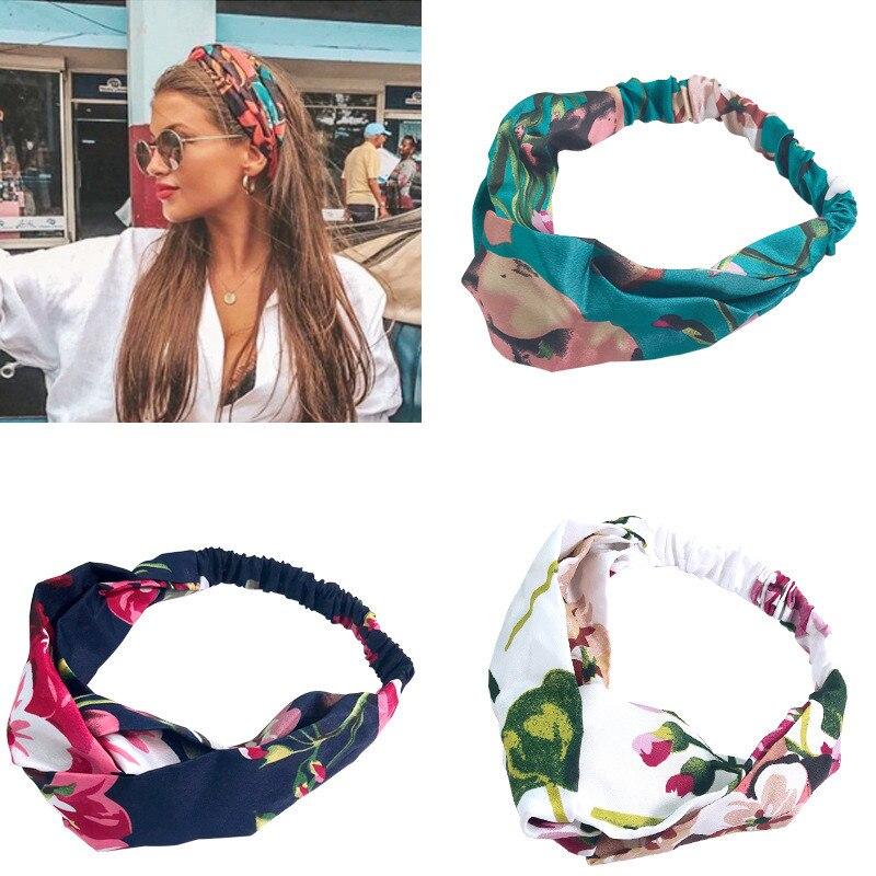 Senhora gerânio moda flor elástico de seda bandana bohemia menina lenço retro headdress