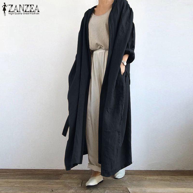 2021 ZANZEA خمر الصلبة الدانتيل يصل قميص موضة المرأة سترة طويلة الخريف طويلة الأكمام مفتوحة الجبهة بلوزة فضفاضة سترة كيمونو