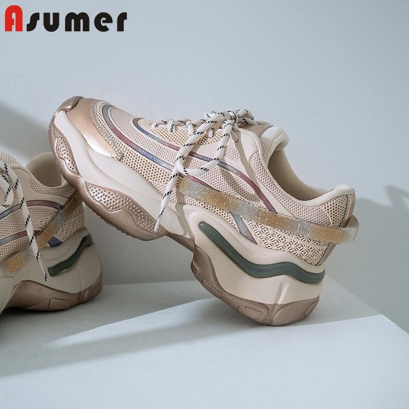 Asumer 2020 celebridad Web papá zapatos mujeres zapatilla de cuero genuino plataforma transpirable para Zapatos moda vulcanizada Zapatos mujer