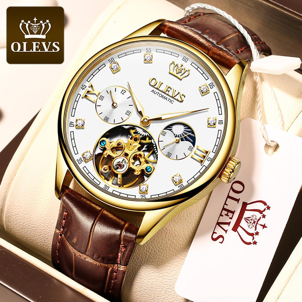 OLEVS Luxury Mens Mechanical Watches Automatic Watch Classic Tourbillon Clock Leather Strap Waterpro
