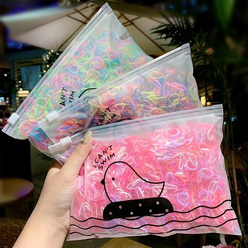1000 unids/pack de cintas elásticas básicas coloridas para el pelo para niñas, soporte para Coleta, banda de goma para niños, accesorios para el cabello para niños