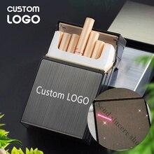 Estuche de cigarrillos con logotipo grabado con láser, personalizado, regalo personalizado, capacidad de almacenamiento, contenedor