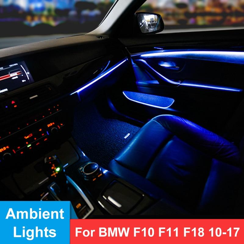 LED أضواء المحيطة لسيارات BMW F10/F18 5 سلسلة 2010-2017 الداخلية باب لوحة الديكور الزخارف مصباح مصباح لتهيئة الجو ترقية عدة