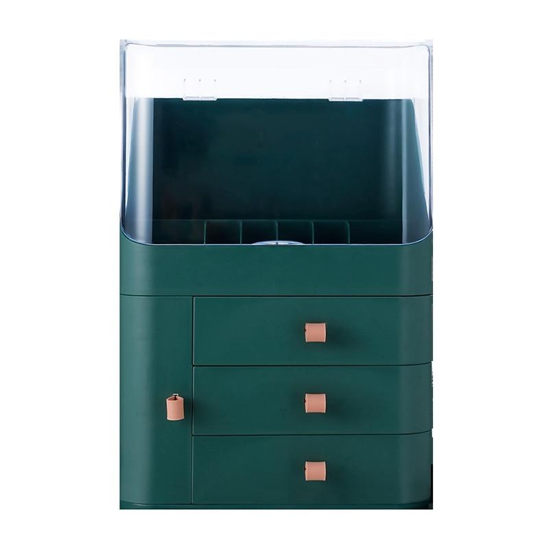 مجوهرات المنظم ماكياج المنظم صندوق تخزين مستحضرات التجميل درج نوع سطح المكتب التشطيب رف الغبار قناع