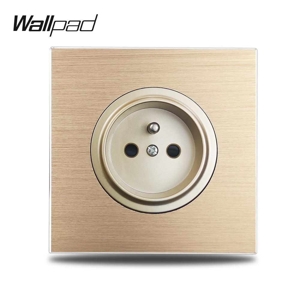 Wallpad L6-مقبس حائط فرنسي 16 أمبير ، لوح معدني من الألومنيوم المصقول ، ذهبي