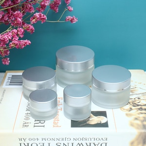 Hot Sale 5/10/15/20/30/50/100g Frosted Glass Cream Jar Cosmetic Container Cosmetic Jars Silver Lid Glass Bottle New Arrival