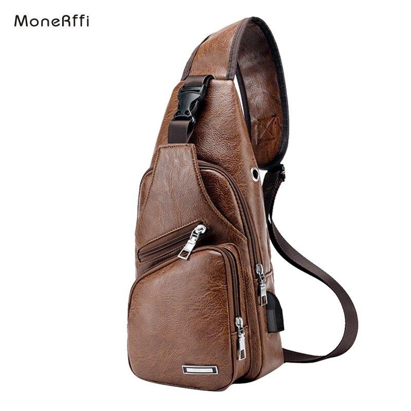 Mochila MoneRffi para hombre, de piel, con orificio para auriculares, organizador de viaje, para hombre