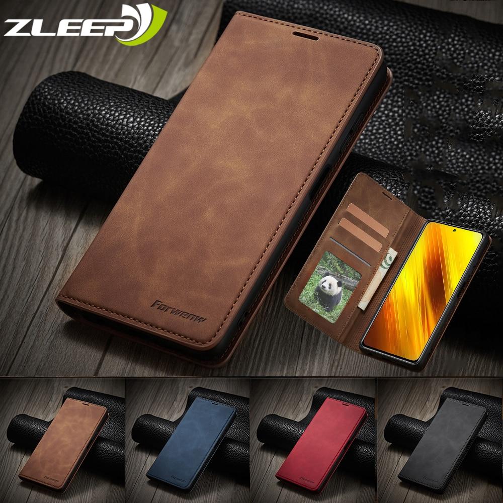 Luxury Leather Poco X3 Magnetic Case For Xiaomi Mi Poco X3 M3 NFC Flip Wallet Card Holder Slots Stan