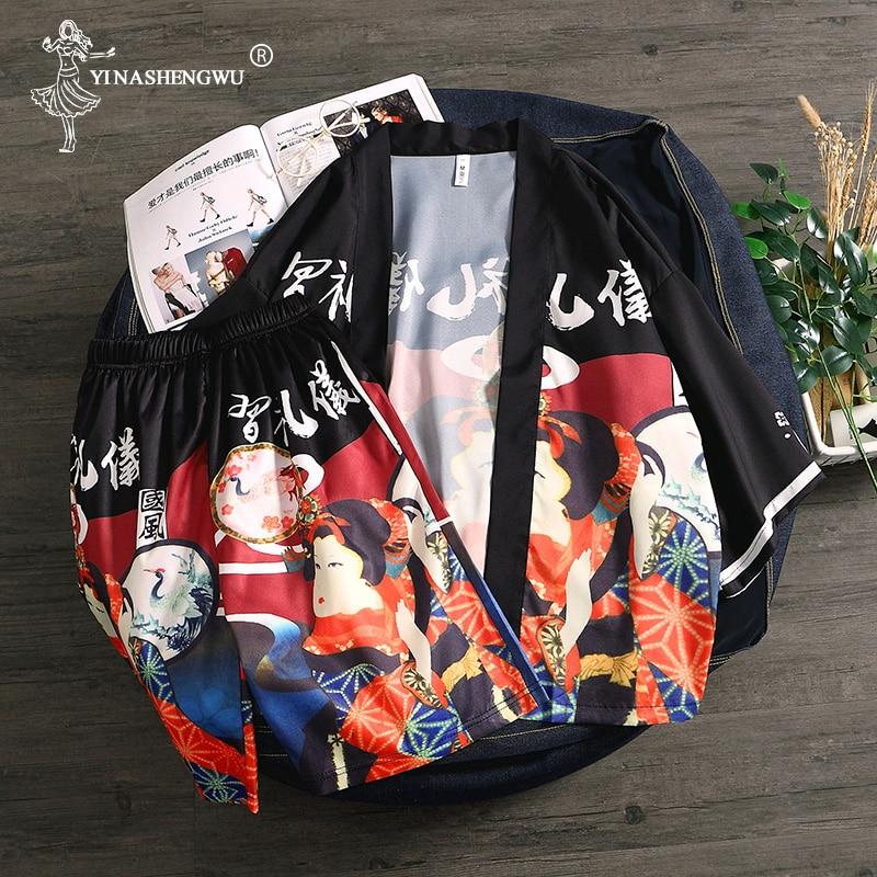 Kimono Set Top and Pants Japanese Kimono Men Yukata Men Women Robe Kimono Cardigan Men Beach Thin Casual Shirt Kimono Cosplay