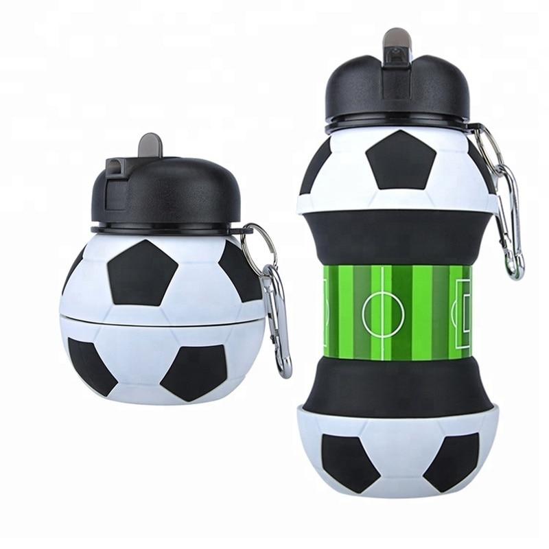 Novedosa botella de agua deportiva de fútbol con pajita plegable de silicona para viajes mis botellas innovando Camping 550ml