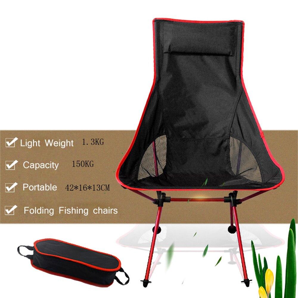 Silla plegable portátil de la Luna para pesca, Camping, barbacoa, taburete plegable, asiento de senderismo extendido, mesa de silla de exterior ultraligera