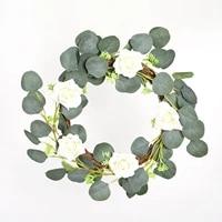 Couronne de plantes artificielles  feuille de printemps  vigne en plastique  feuille de lierre  guirlande de plantes artificielles pour la maison  decoration de mariage  couronne porte dentree