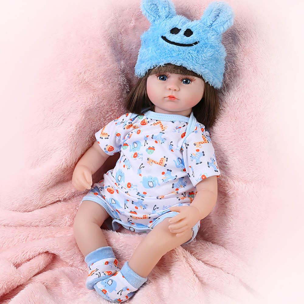 NEW 42CM Baby Reborn Doll 17 Inch Realistic lifelike Newborn Babies Doll Toy For Girls Toddler Blue Eyes Reborn Birthday Present