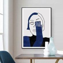 Azul abstrato retrato feminino com um olho barcelona estilo moderno decorativo imagem da parede lona arte cartaz para sala de escritório deco