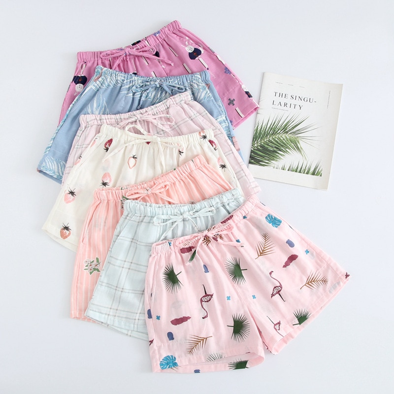 Summer Women Sleep Shorts Cotton Gauze Pajamas Pants Printing Sleep Bottoms Sleep Wear Sleeping Wome