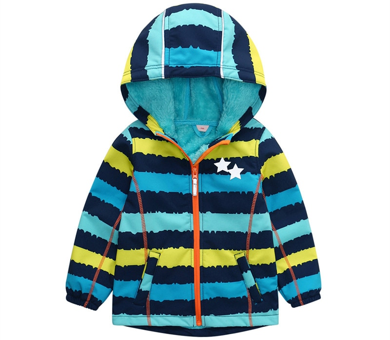 Boys and girls autumn and winter jackets children's jackets for boys and girls outdoor soft shell rainproof windproof plus velve