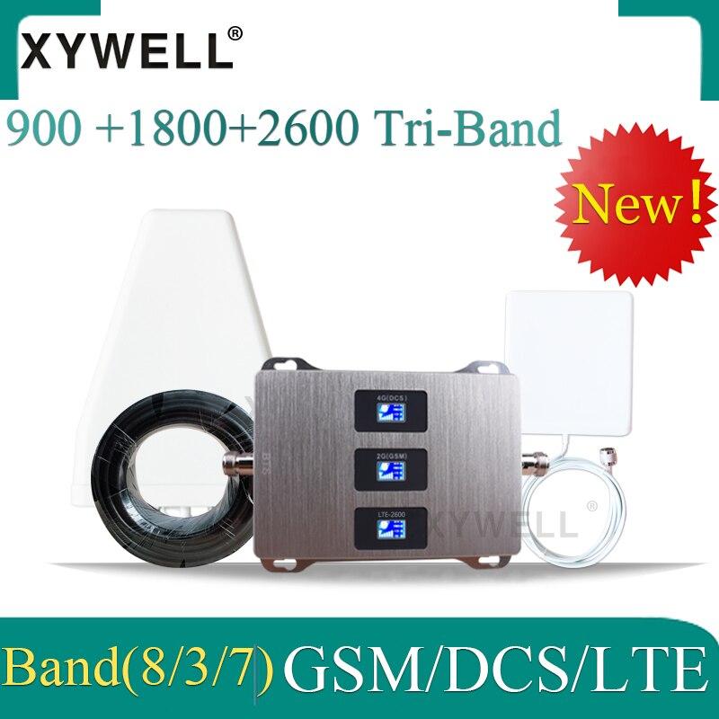 ¡Nuevo! 900/1800/2600mhz amplificador de señal celular GSM 900 dcslite 1800 FDD LTE 2600 señal de móvil GSM booster 4g repetidor celular