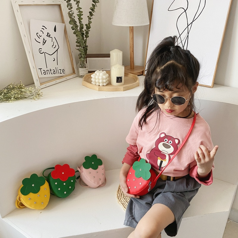 Baby Mini Coin Pouch 2021 Cute Fruit Cross Body Bag for Kids Girl Small Money Wallet Bag Toddler Strawberry Purse Gift