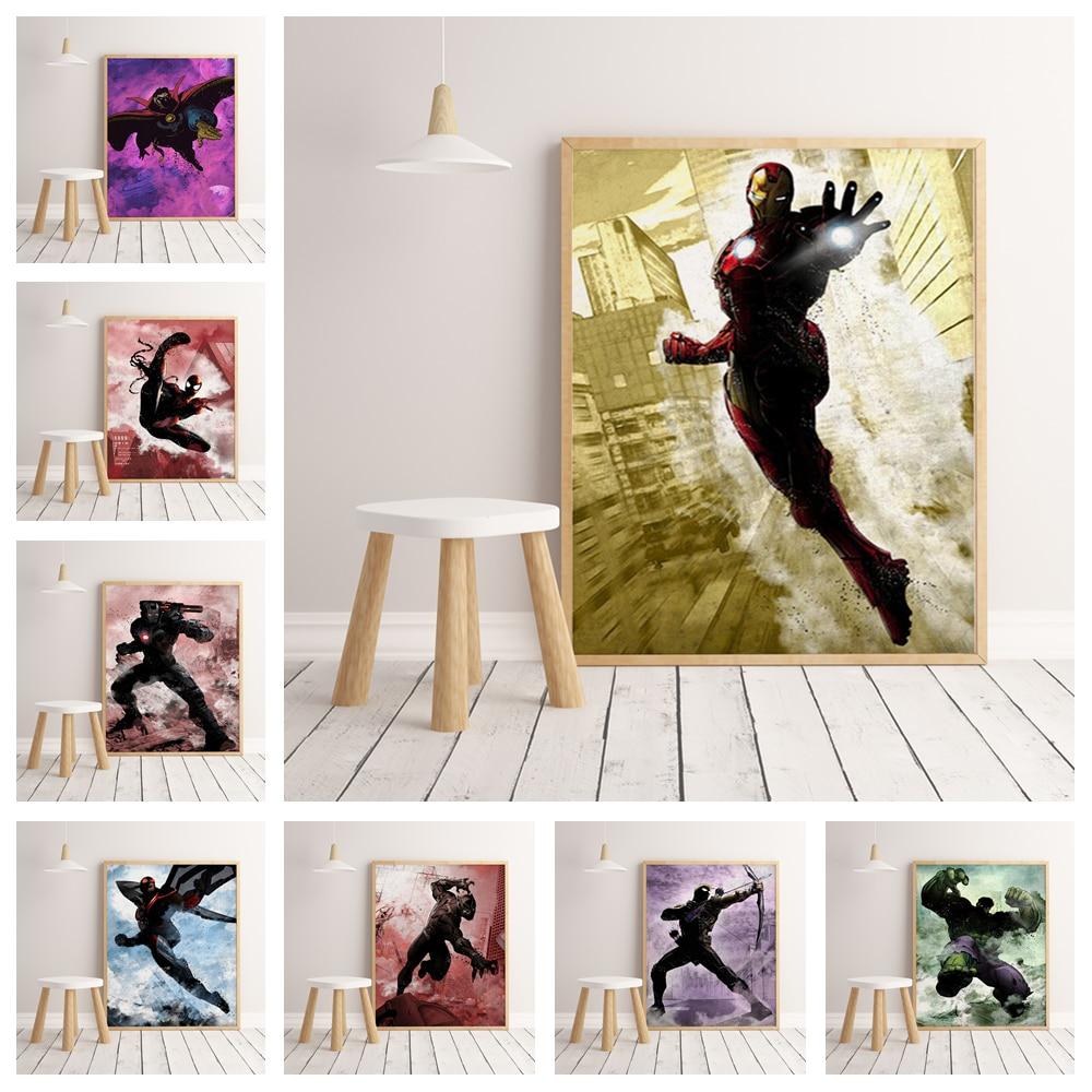 Marvel superhéroe Iron Man Capitán América hogar acuarela alta calidad decoración para el hogar cartel decoración de pared sin marco O165