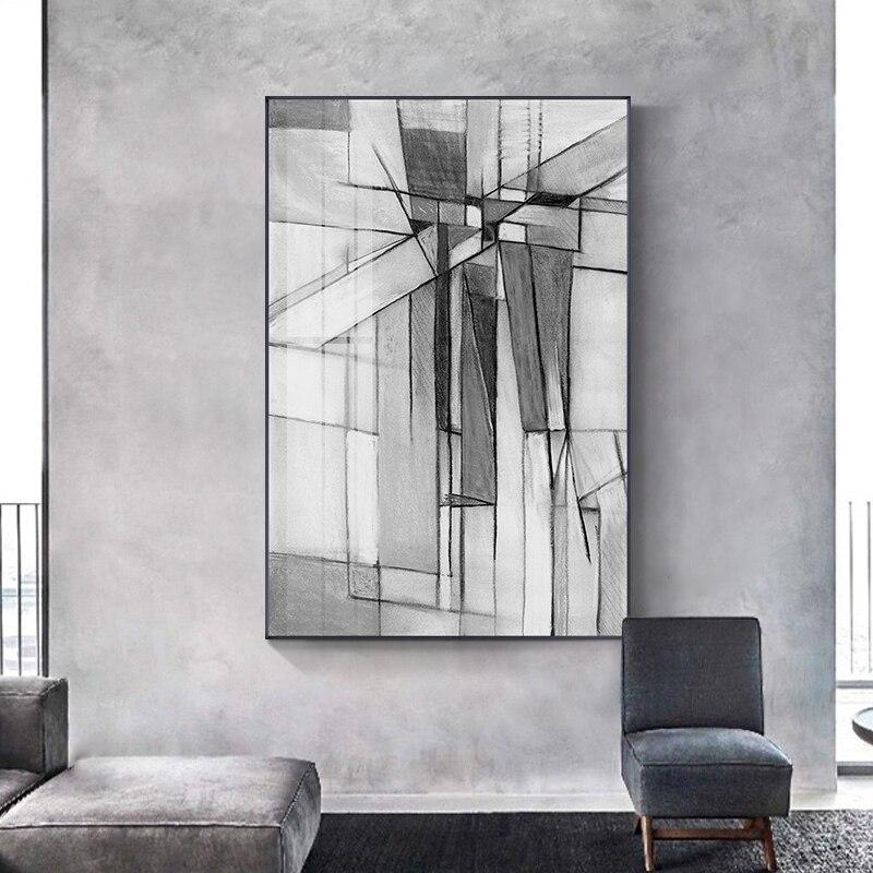 Abstrakte Industrie Weiß n Schwarz Leinwand Malerei Poster Moderne Wand Kunst Bild Druck Poster für Wohnzimmer Schlafzimmer Wohnkultur