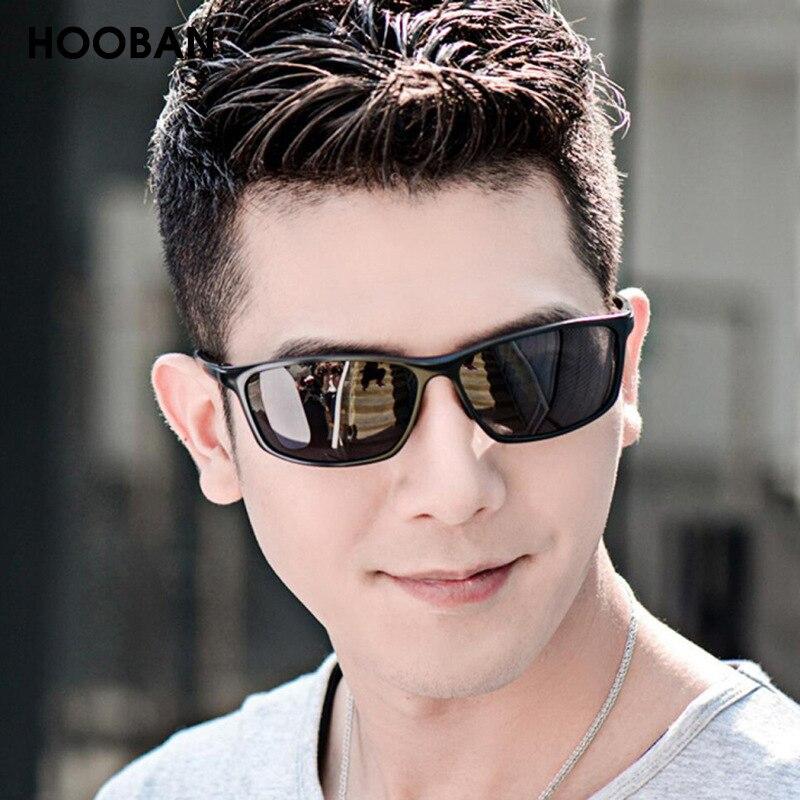 HOOBAN Fashion Square Men Sunglasses Retro Black Rectangle Sun Glasses For Male Vintage Outdoor Eyew