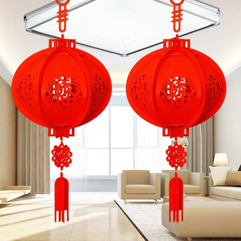 Tela no tejida Linterna China Linterna Roja China linterna 3D tradicional hermosa Navidad Fiesta puerta hogar Decoración regalo